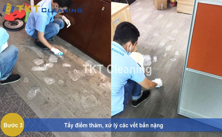 Step 3 - Removing spots on the carpet to treat heavy stains