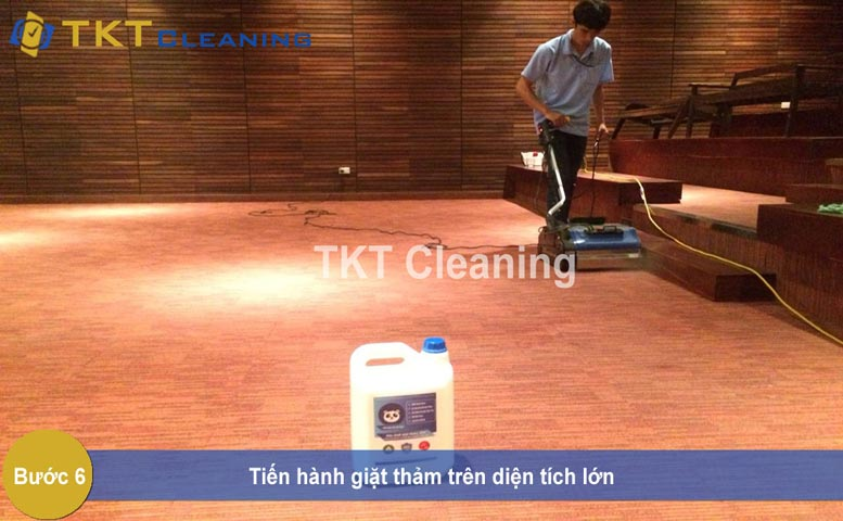 Step 6 - Performing Office Carpet Cleaning service on a large area