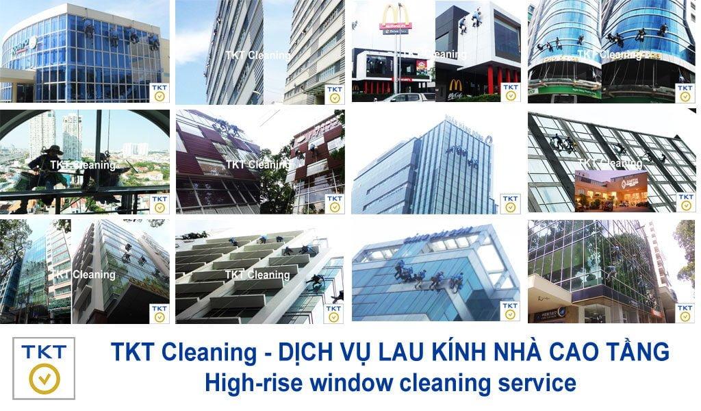 dịch vụ lau kính nhà cao tầng TKT Cleaning - vệ sinh kính tòa nhà