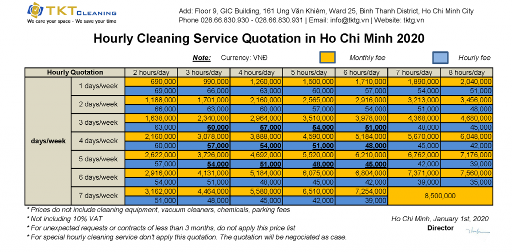 cleaner maid hourly quotation ho chi minh city 2020 tkt cleaning