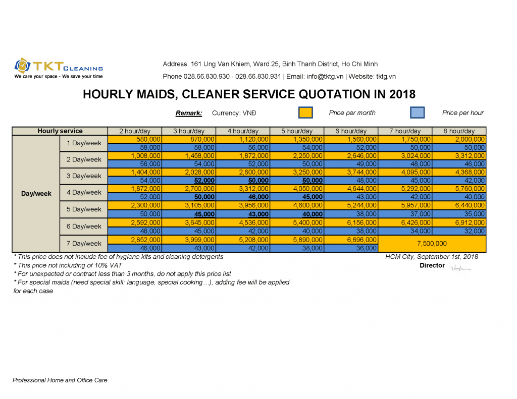 Hourly Maids, Cleaner Quotation of TKT Cleaning 2018