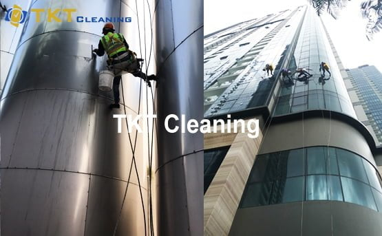 the high rise window cleaning in Ho Chi Minh project of TKT Cleaning at district 1