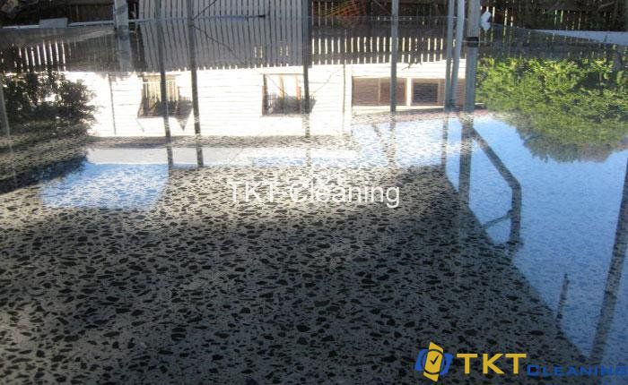 Exterior concrete is polished