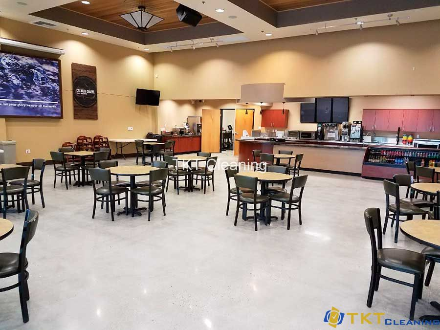 Polished concrete floor in restaurant