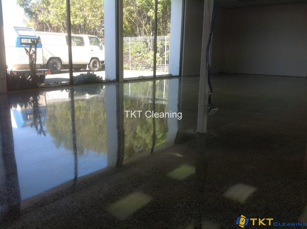 Concrete floor grinding service is in the finishing stage