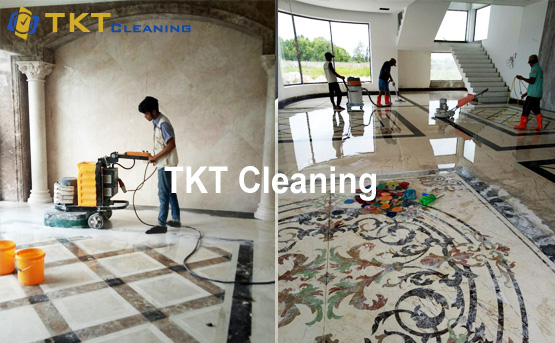Natural stone polishing service TKT Cleaning with modern equipment